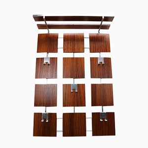Vintage Rosewood & Chrome Wall Mounted Coat Rack, 1960s