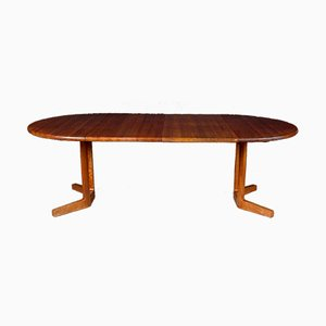 Round Solid Teak Dining Table with 2 Extensions, 1960s