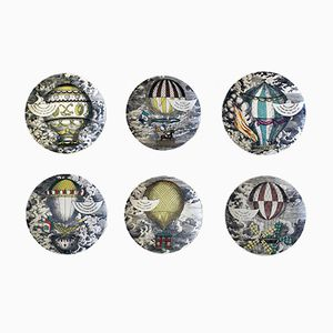 Vintage Mongolfiere Hot Air Balloon Porcelain Plates by Atelier Fornasetti, Set of 6
