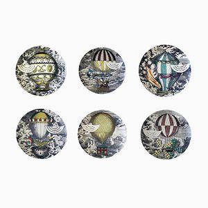 Vintage Teller mit Mongolfiere Heißluftballon-Motiv von Atelier Fornasetti, 6er Set