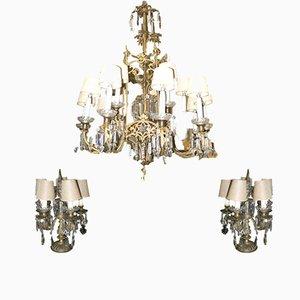Juego de lámpara de techo y dos candelabros eléctricos antiguo de cristal