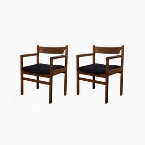 Dänische Beistellstühle aus Eiche, 1960er, 2er Set