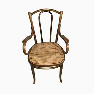 Austrian Bentwood Armchair with Wicker Seat