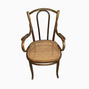 Vintage Stuhl aus Bugholz mit gewebtem Sitz