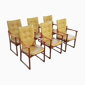 Dänische Armlehnstühle aus Teak & Leder von Vamdrup Stolefabrik, 1960er, 6er Set