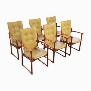 Danish Teak & Leather Armchairs from Vamdrup Stolefabrik, 1960s, Set of 6
