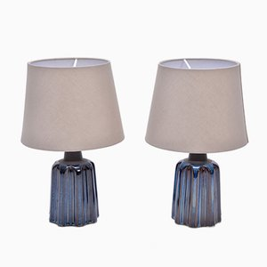 Blaue Tischlampen aus Keramik von Soholm Stentoj, 1970er, 2er Set
