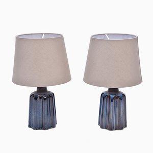Lámparas de mesa de cerámica azul de Soholm Stentoj, años 70. Juego de 2
