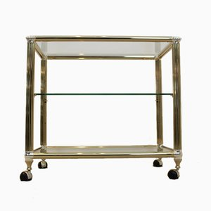Vintage Brass and Glass Bar Cart, 1970s