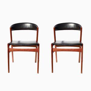 Sedie da pranzo moderne di Kai Kristiansen per Jorg Stole, Danimarca, 1962, set di 2