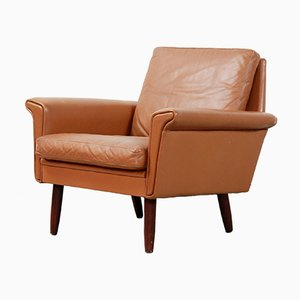 Vintage Danish Brown Leather Easy Chair, 1970s