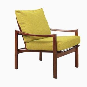 Dänischer Vintage Sessel mit Gestell aus Teak & gelbem Stoffbezug, 1960er