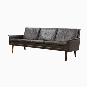 Danish Brown Leather & Rosewood Sofa, 1960s