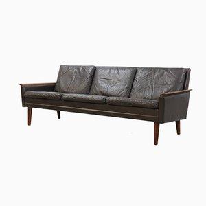 Danish Brown Leather & Rosewood Sofa, 1960s