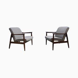 Kompakte Mid-Century Sessel mit grauem Bezug, 2er Set