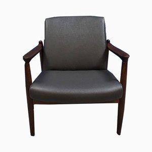 Kompakter Mid-Century Sessel mit grauem Lederbezug
