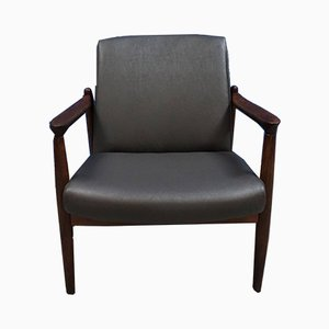 Mid-Century Grey Leather Compact Armchair