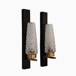Französische Mid-Century Wandlampen aus Metall & Glas, 2er Set