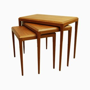 Tavolini a incastro Mid-Century in teak di Johannes Andersen per CFC Silkeborg, Danimarca, anni '60