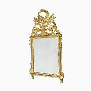 Spiegel mit Holzrahmen in Gold & Grün mit Vögeln, 1950er