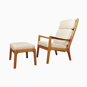 Vintage Senator Highback Armchair with Ottoman by Ole Wanscher for Peter Jeppesen
