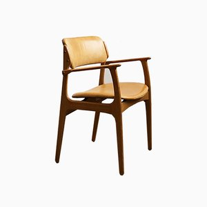 Mid-Century Danish Modern Oak & Light Leather Armchair by Erik Buch for O.D. Møbler, 1960s