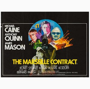 Póster vintage de la película The Marseille Contract, años 70