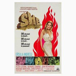 Póster vintage de la película La diosa de fuego, años 60