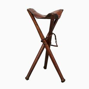 Taburete trípode alemán o silla Hunting de Adolph Schwarz, años 30