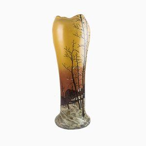 Große Vase mit Winterlandschaft von Legras & Cie, 1900er