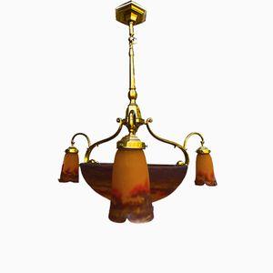 Lampadario Art Nouveau antico in vetro di Muller Freres