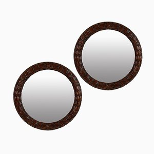 Circular Mahogany Laurel Mirrors, 1930s, Set of 2