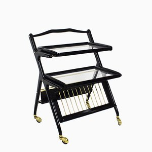 Bar Cart with Magazine Rack by Cesare Lacca for Cassina, 1960s