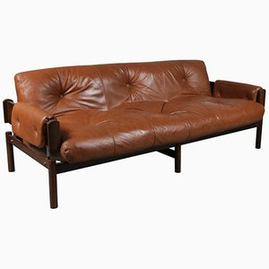 Leather Sofa by Percival Lafer, 1970s