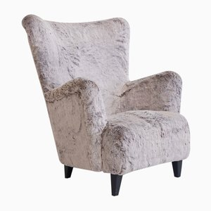Faux Fur Upholstered Armchair, 1950s