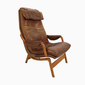 Sillón danés Mid-Century de cuero marrón, años 60