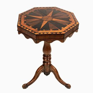 Antique English Geometric Marquetry Side Table, 1820s