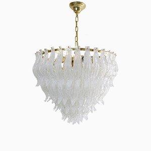 Lámpara de araña grande con hojas de cristal de Murano, años 70