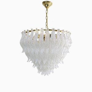 Large Murano Glass Leaf Chandelier, 1970s