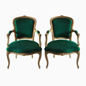 18th Century French Armchairs in Emerald Silk, 1780s, Set of 2