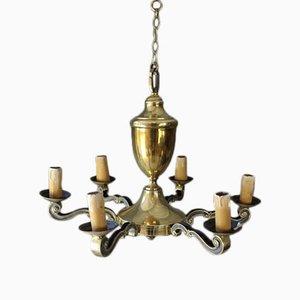 Lámpara de araña grande de latón, años 20