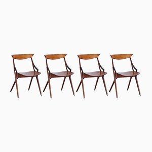 Chaises Modèle 71 par Arne Hovmand Olsen pour Mogens Kold, 1950s, Set de 4
