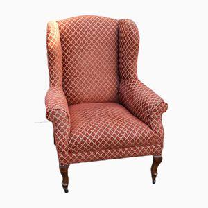 Upholstered & Mahogany Wingback Armchair, 1930s