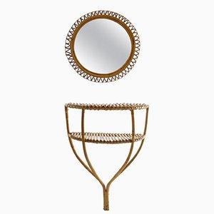 Consola italiana de ratán con espejo redondo, años 60