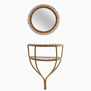 Italian Rattan Console Table & Round Mirror, 1960s