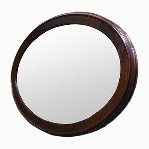 Specchio grande ovale vintage in mogano, anni '30