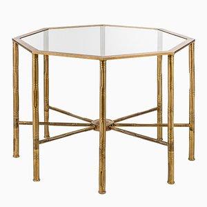 Achteckiger Eclectic Tisch mit Gestell in Bambusstiel-Optik von Brass Brothers