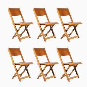 Foldable Dining Chairs, 1950s, Set of 6