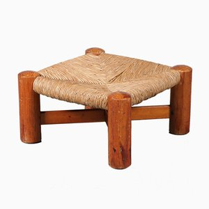 Pine & Rush Stool by Wim den Boon, 1950s