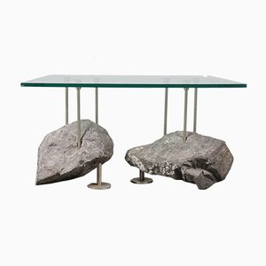 Mesa de centro con base en forma de rocas, años 80